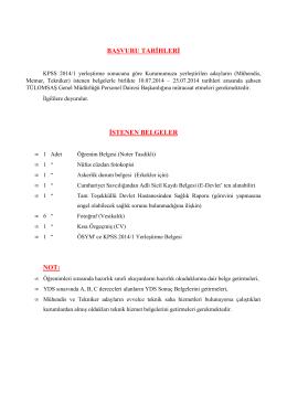 kpss 2014/1 sonucu kurumumuza yerleştirilen adayların