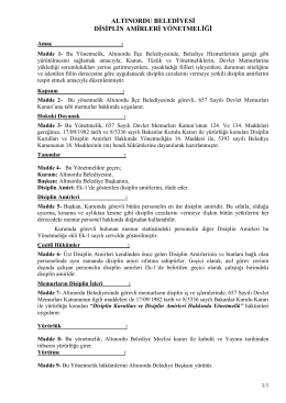 Disiplin Amirleri Yönetmeliği - Altınordu Belediye Başkanlığı