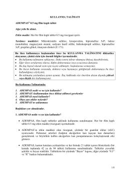 KULLANMA TALİMATI ADEMPAS® 0.5 mg film kaplı tablet Ağız yolu