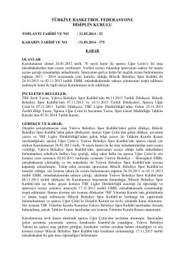 TÜRKİYE BASKETBOL FEDERASYONU DİSİPLİN KURULU