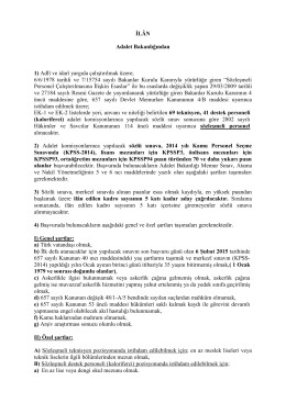 İLÂN Adalet Bakanlığından 1) Adlî ve idarî yargıda