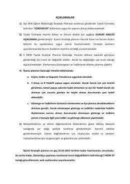 açıklamalar - Adana Milli Eğitim Müdürlüğü