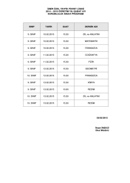 izmir özel tevfik fikret lisesi 2014 – 2015 öğretim yılı şubat ayı