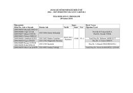 2014-2015 öğretim yılı güz yarıyılı tek ders sınav programı