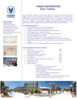 YAŞAR ÜNİVERSİTESİ İzmir, Türkiye