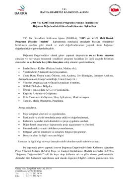 KOBİ Mali Destek Programı (Makine İmalat) BD Alım İlanı