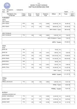 13 Şubat Haftalık Bülten - Denizli Ticaret Borsası