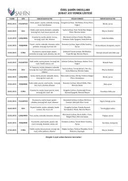 özel şahin okulları şubat ayı yemek listesi