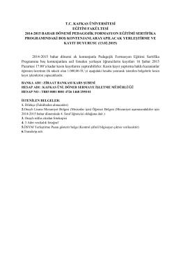 2014-2015 bahar dönemi pedagojik formasyon eğitimi sertifika
