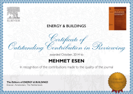 MEHMET ESEN The Editors of ENERGY & BUILDINGS