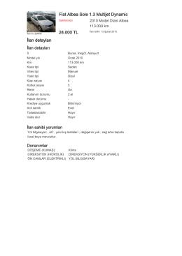 Fiat Albea Sole 1.3 Multijet Dynamic 24.000 TL İlan detayları
