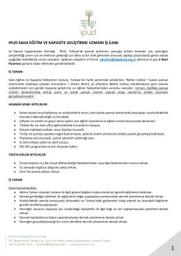 ıpud saha eğitim ve kapasite geliştirme uzmanı iş ilanı