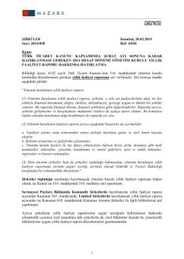 Türk Ticaret Kanunu Kapsamında Şubat Ayı