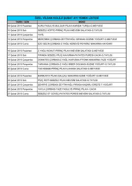 yaz okulu yemek listesi