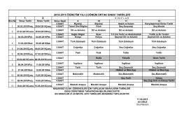 1. 2. 2014-2015 öğretim yılı 2.dönem ortak sınav tarihleri