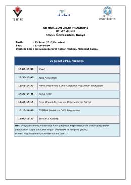 AB HORIZON 2020 PROGRAMI BİLGİ GÜNÜ Selçuk Üniversitesi