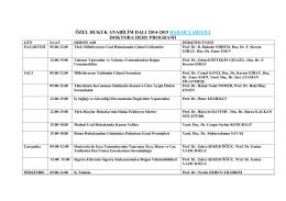 özel hukuk anabilim dalı 2014-2015 bahar yarıyılı doktora ders