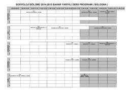 SOSYOLOJİ BÖLÜMÜ 2014-2015 BAHAR YARIYILI DERS
