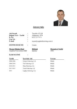 Tacettin Ayan - ÇAĞDAŞ Finans Factoring Hizmetleri A.Ş.