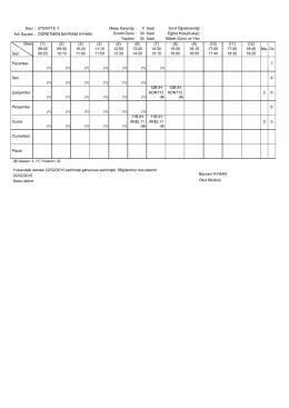 Sayı : 27534718 -1 Maaş Karşılığı : 4 Sınıf Öğretmenliği : Ders Gün