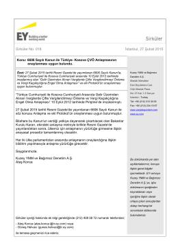 Kosova ÇVÖ Anlaşmasının onaylanması uygun bulundu.