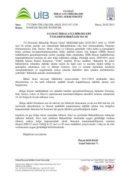 Dahilde İsleme Rejimi Hk - Uludağ İhracatçı Birlikleri