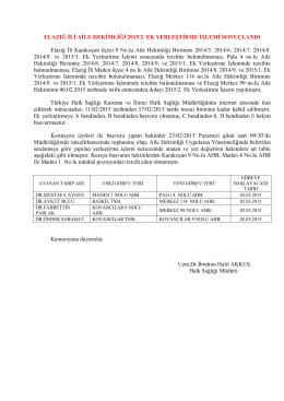 ELAZIĞ İLİ AİLE HEKİMLİĞİ 2015/2. EK YERLEŞTİRME İŞLEMİ