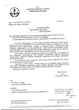 Müdürlüğümüzün konu ile ilgili 24/02/2015 tarih ve 2020737 sayılı