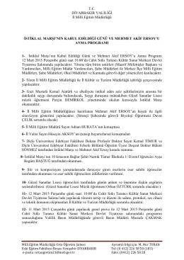 Anma Programı - Diyarbakır İl Milli Eğitim Müdürlüğü