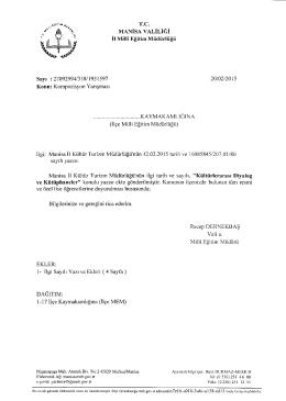 İl Milli Eğitim Müdürlüğü´nün 20/02/2015 tarih 1951597 sayılı