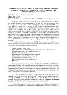 Susurluk İlçesi, İstiklal Marşı`nın Kabul Edildiği Günü ve Mehmet Akif