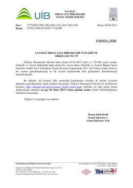 TUNUS BİLGİ NOTU TALEBİ - Uludağ İhracatçı Birlikleri