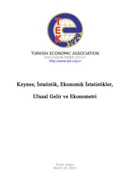 Keynes; İstatistik, Ekonomik İstatistikler, Ulusal Gelir ve Ekonometri