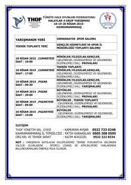 kahramanmaraş grup yarışması programı