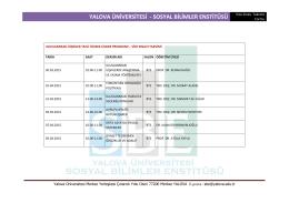 Uluslararası İlişkiler Anabilim Dalı Ara Sınav Takvimi