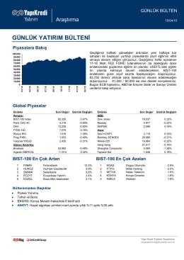 PİYASALARA BAKIŞ - Yapı Kredi Yatırım