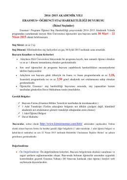 2014–2015 AKADEMİK YILI ERASMUS+