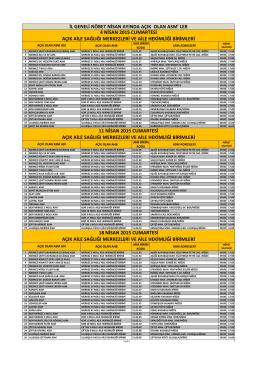 Nisan Ayı Açık Olan ASM Listesi