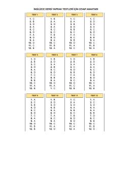 ingilizce dersi yaprak testleri için cevap anahtarı 1. c 2. b 3. d 4. a 5