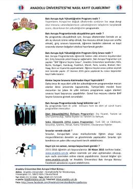Anadolu Üniversitesi Batı Avrupa Programları Duyurusu 08.04.2015