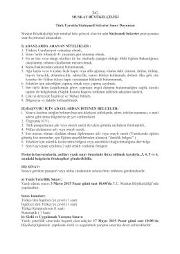T.C. MUSKAT BÜYÜKELÇİLİĞİ Türk Uyruklu Sözleşmeli Sekreter