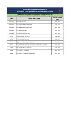 Sağlıkta Kalite Değerlendirmeleri 2014 06