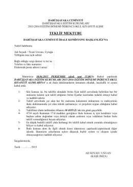 EK-1 Teklif Mektubu