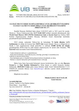 WFM 2015 FUARI MİLLİ KATILIM ORGANİZASYONU HK.