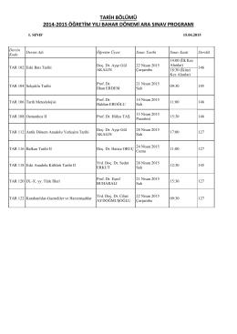 tarih bölümü 2014-2015 öğretim yılı bahar dönemi ara sınav programı
