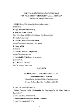 IX. Kutlu Doğum Sempozyum Programı - İlahiyat Fakültesi