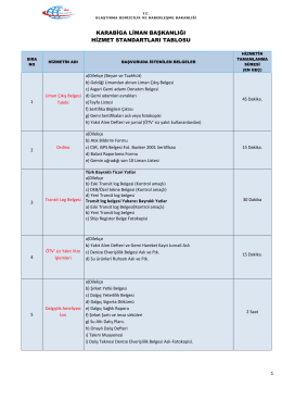 Karabiga Liman Başkanlığı Hizmet Standartları Tablosu