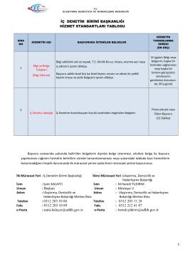 İç Denetim Birimi Başkanlığı - TC Ulaştırma, Denizcilik ve