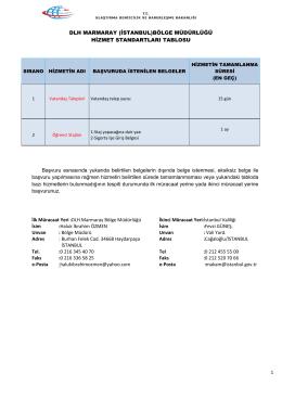 DLH Marmaray Bölge Müdürlüğü Hizmet Standartları