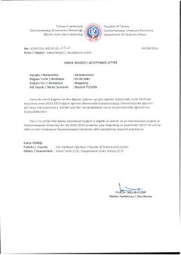 Rustam TLEVON - Gaziosmanpaşa Üniversitesi